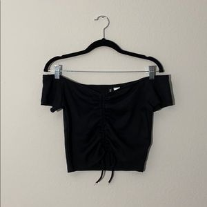 Black ruched draw string crop top